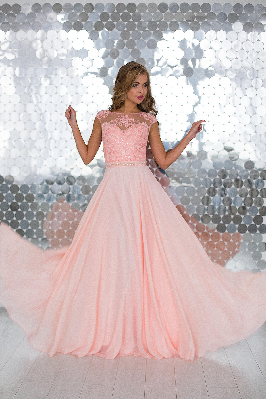 3e74494e9fa Купить длинное шифоновое платье Onyx Pudra на выпускной оптом от ...